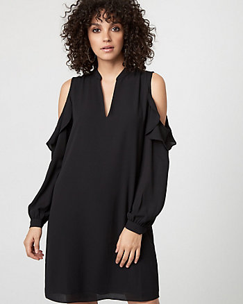 Crêpe de Chine Cold Shoulder Tunic Dress