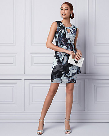 Floral Print Knit Cutout Dress