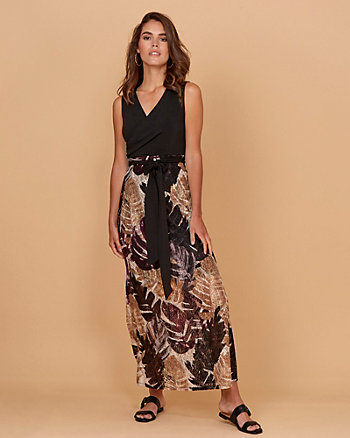 Leaf Print Lace Maxi Dress