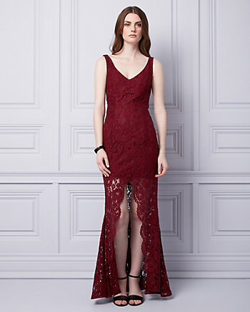 Corded Lace V-Neck Gown