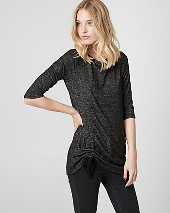 Shirred Knit Crew Neck Top