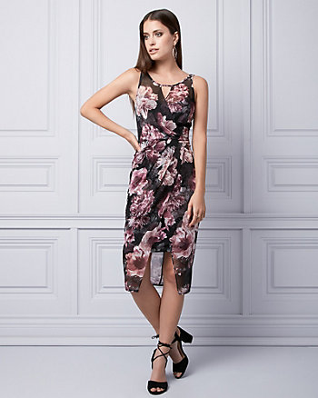 Floral Print Knit Wrap-Like Dress