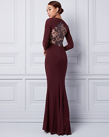 Sequin & Knit Illusion Back Gown