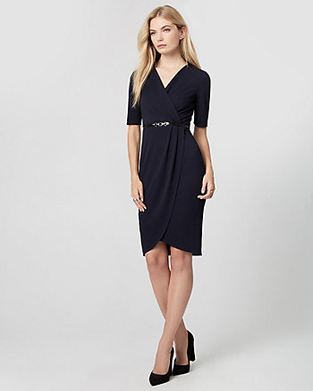 Textured Knit Wrap-Like Dress