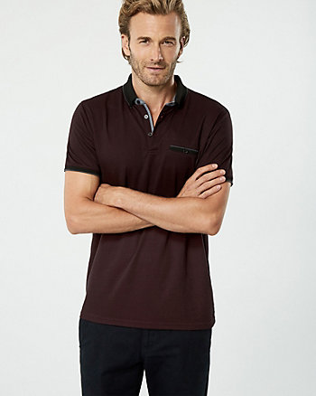 Two-Tone Viscose Blend Polo Top