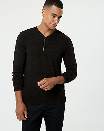 Cut & Sew Knit Henley Top