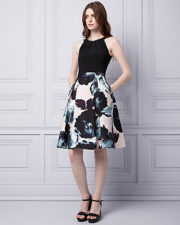 Floral Print Cotton Sateen Halter Dress