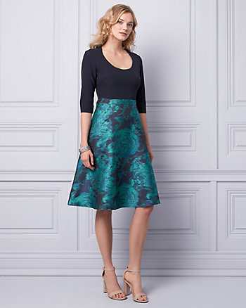 Metallic Jacquard Scoop Neck Dress