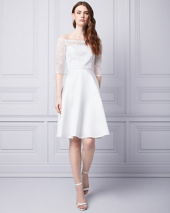 Embroidered Tulle & Twill Boat Neck Dress