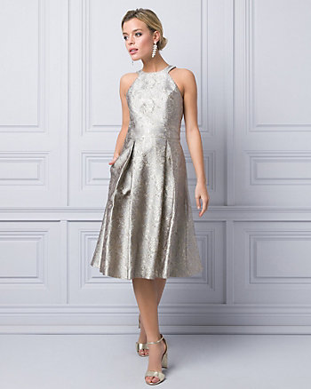 Metallic Jacquard Halter Cocktail Dress