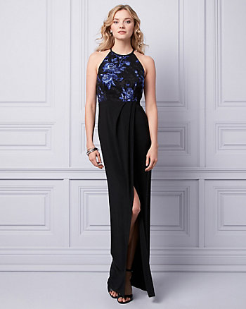 Embroidered Mesh Halter Gown
