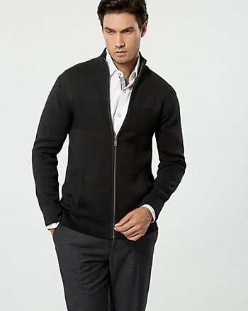 Rib Cotton Zip-Front Cardigan