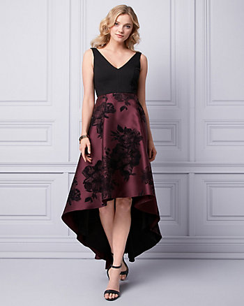 Flocked Floral Print Satin Gown