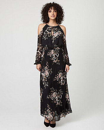 Floral Print Chiffon Crew Neck Maxi Dress