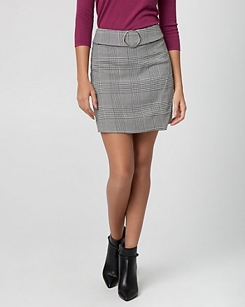 Check Print Viscose Blend Mini Skirt