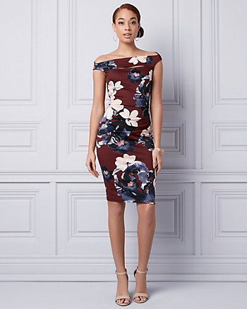 Floral Print Knit Crêpe Shift Dress