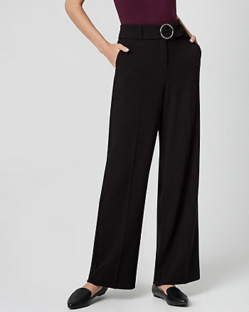 Belted Crêpe Wide Leg Pant