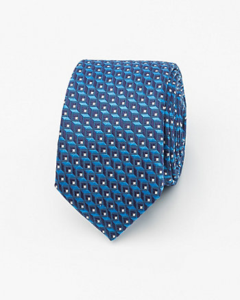 French-Made Geo Print Silk Skinny Tie
