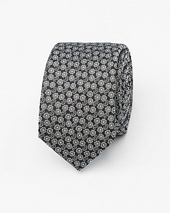 French-Made Floral Print Silk Skinny Tie