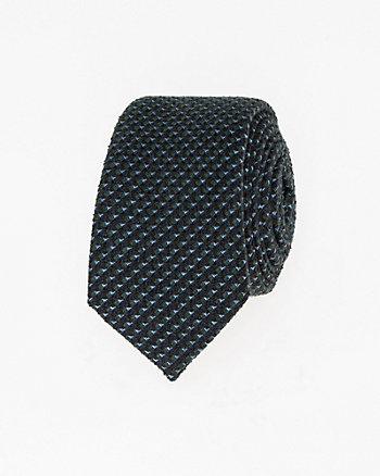 Geo Print Silk Blend Skinny Tie