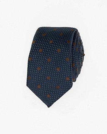 Dot Print Silk Skinny Tie