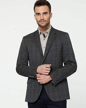 Check Print Contemporary Fit Blazer