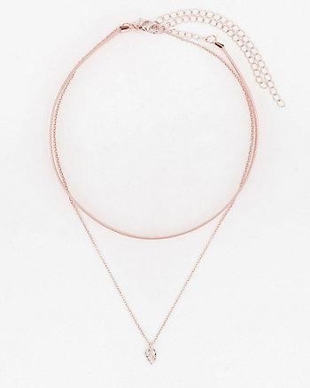Metallic Choker & Pendant Necklace