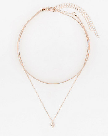 Metallic Choker & Pendant Necklace