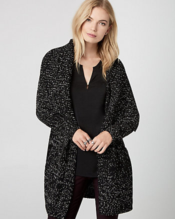 Tweed Open-Front Sweater Coat