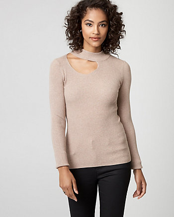 Rib Viscose Blend Cutout Sweater