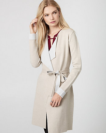Viscose Blend Belted Sweater Coat