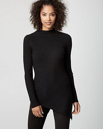 Rib Viscose Blend Tunic Sweater
