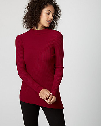 Rib Viscose Blend Tunic Sweater