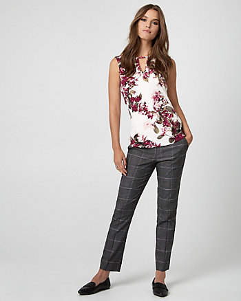 Floral Print Viscose Blend Split Neck Top