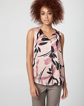 Abstract Print Satin & Jersey V-Neck Top