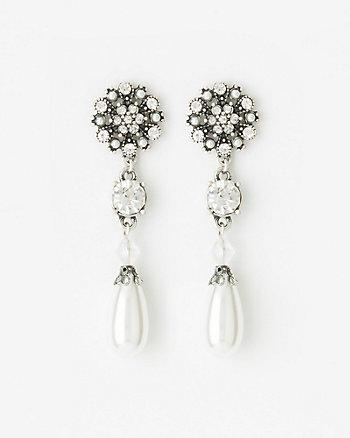 Gem & Pearl-Like Drop Earrings