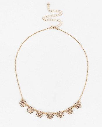 Floral Gem Collarbone Necklace