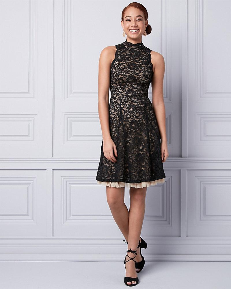 92328dcee8 Lace Mock Neck Dress