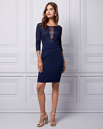 Lace & Ponte Illusion Cocktail Dress