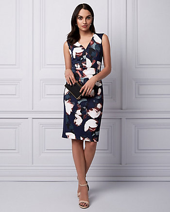 Floral Print Knit Crêpe V-Neck Dress