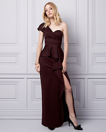 Knit Crêpe One Shoulder Gown