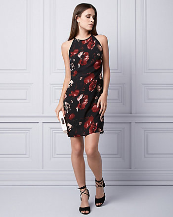 Floral Print Crêpe de Chine Halter Dress