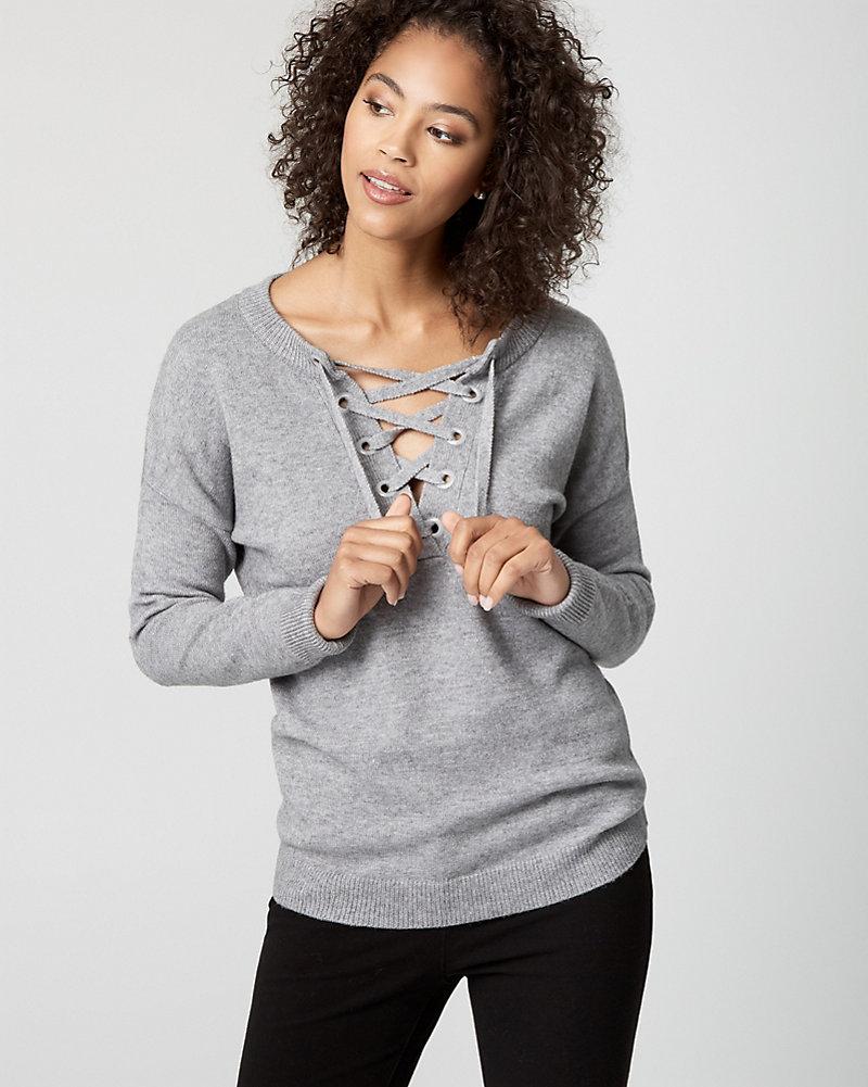 53208c6c62 Brushed Viscose Lace-Up Sweater