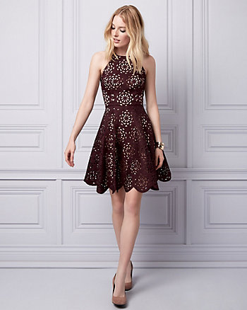 Laser Cut Knit Halter Dress