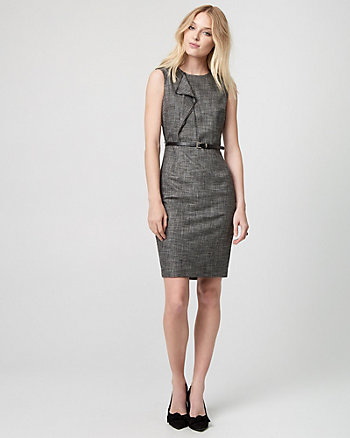 Houndstooth Tweed Ruffle Dress