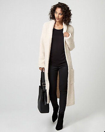 Textured Wool Blend Sweater Coat