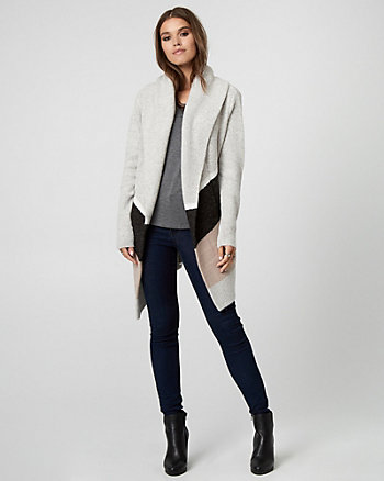 Colour Block Knit Sweater Coat