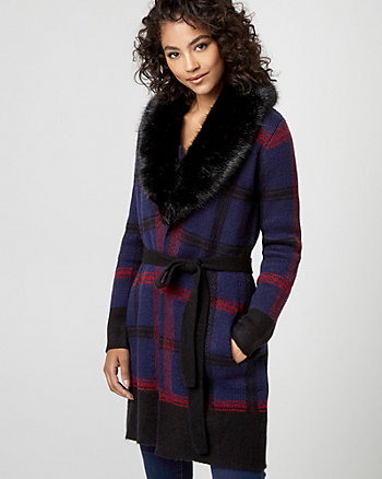 Faux Fur & Check Print Knit Sweater Coat