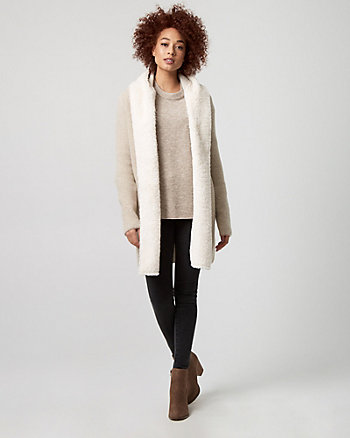 Textured Faux Sherpa Sweater Coat