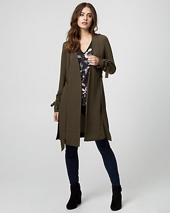 Crêpe de Chine Belted Trench